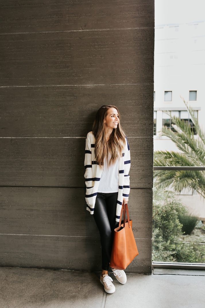 faux leather leggings and striped cardigan