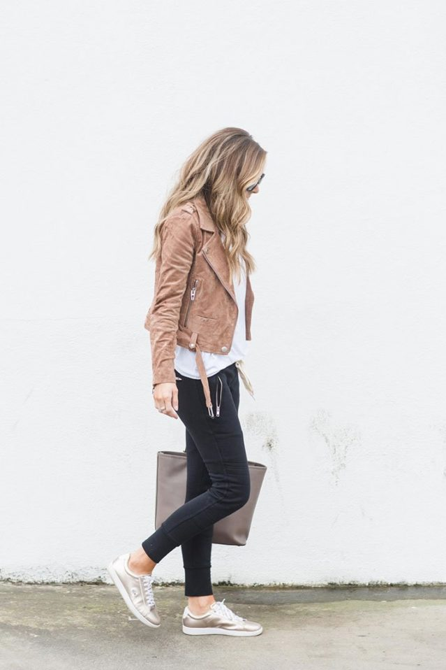 suede jacket with black joggers and sneakers