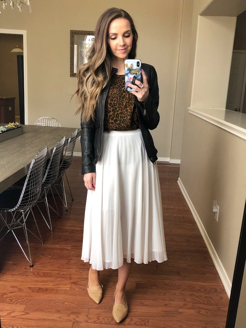 capsule wardrobe white skirt