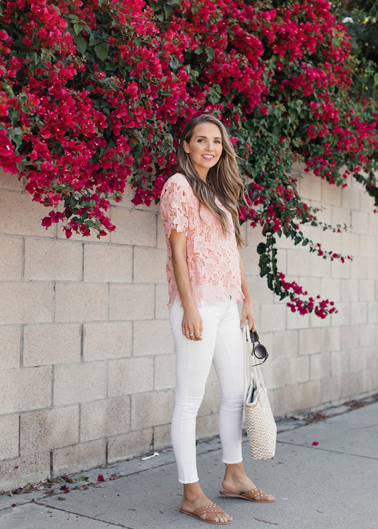 white jeans pink blouse