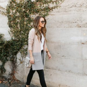 madewell pink and gray cardigan black jeans black buckle ankle boots
