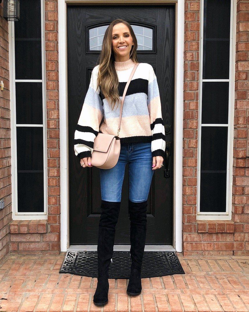 this striped sweater and over the knee boots are 40% off right now!