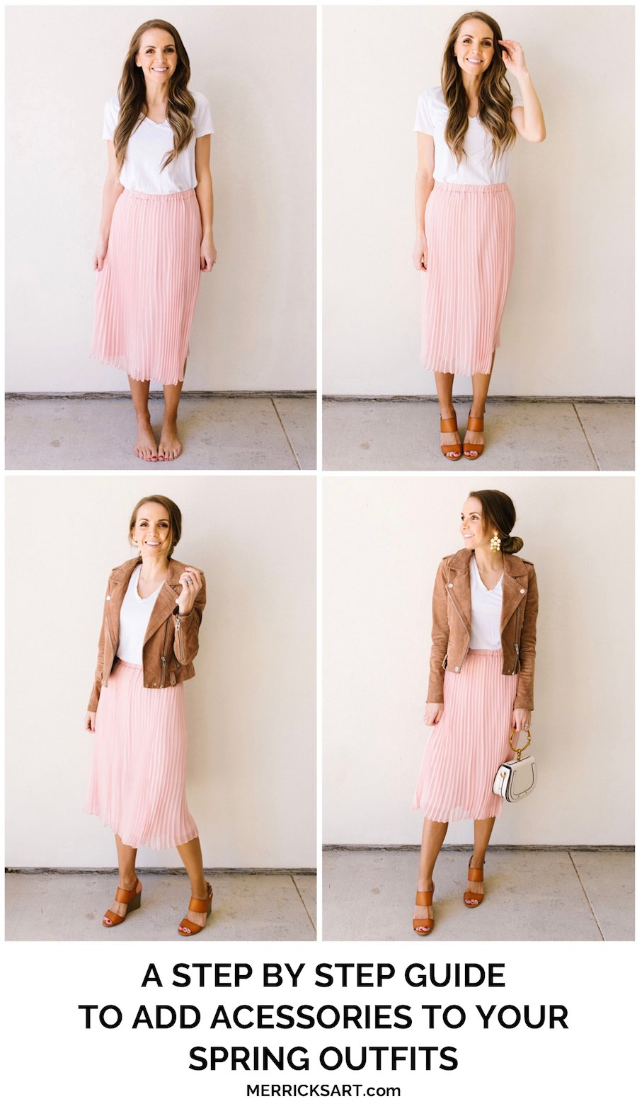 adding accessories to your spring outfit pink skirt