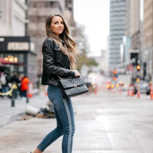 black leather jacket and jeans with side stripe streetstyle