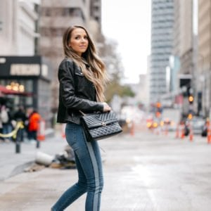 leather jacket and sporty side stripe jeans