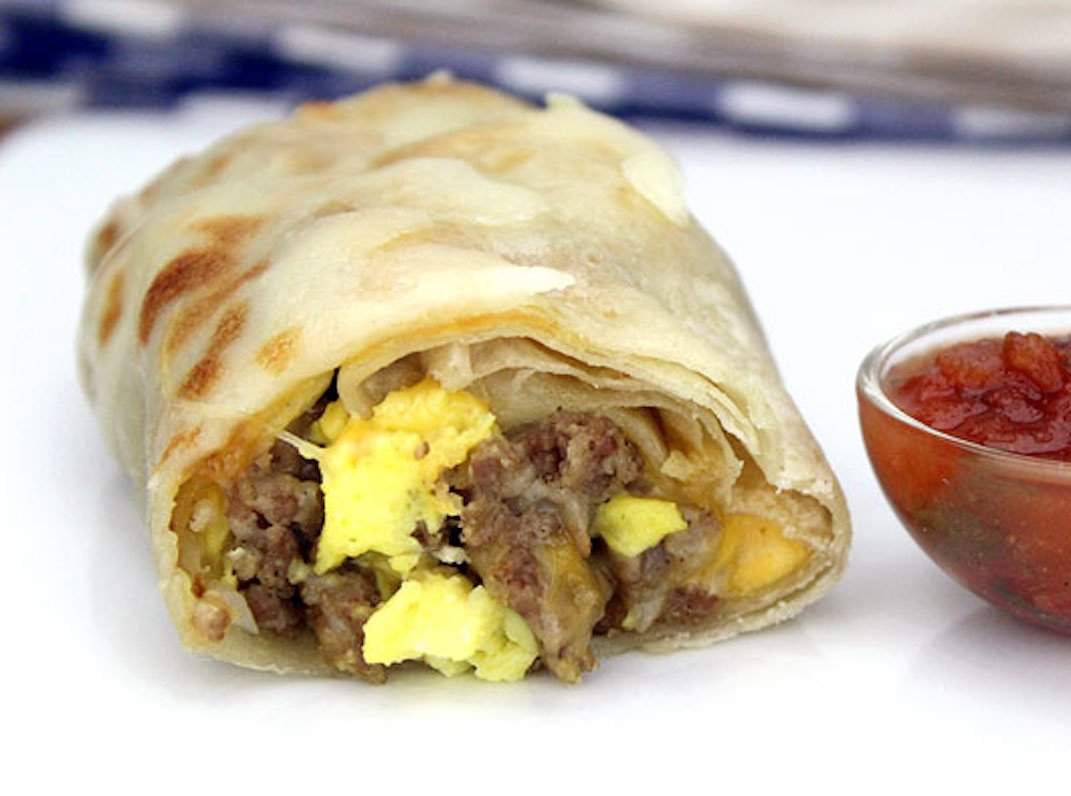 three ingredient breakfast burritos