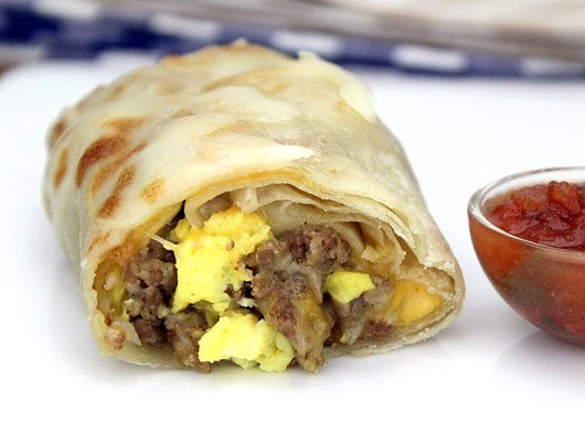 three ingredient sausage burrito