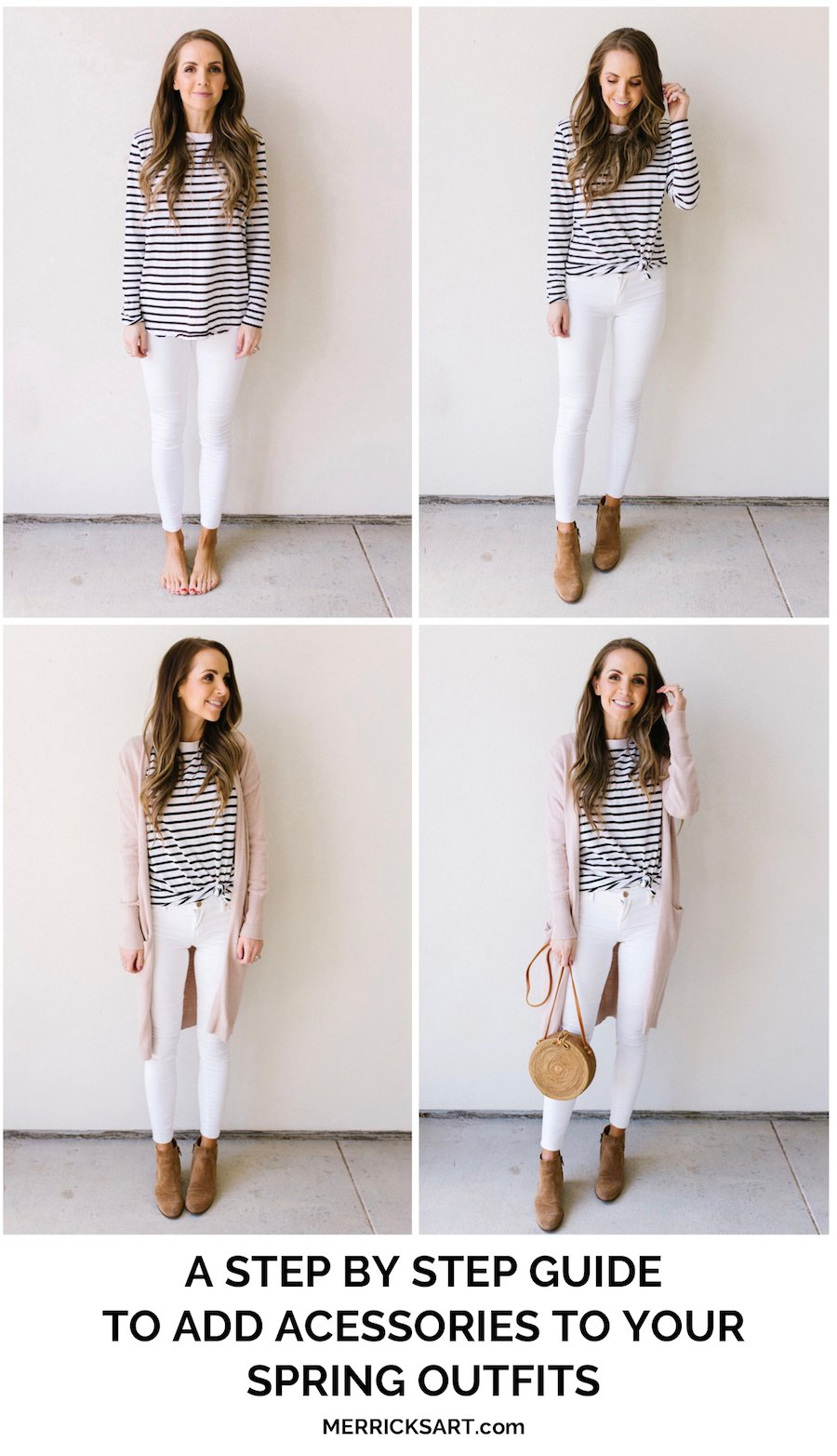 step by step adding accessories to your outfit striped tee white jeans