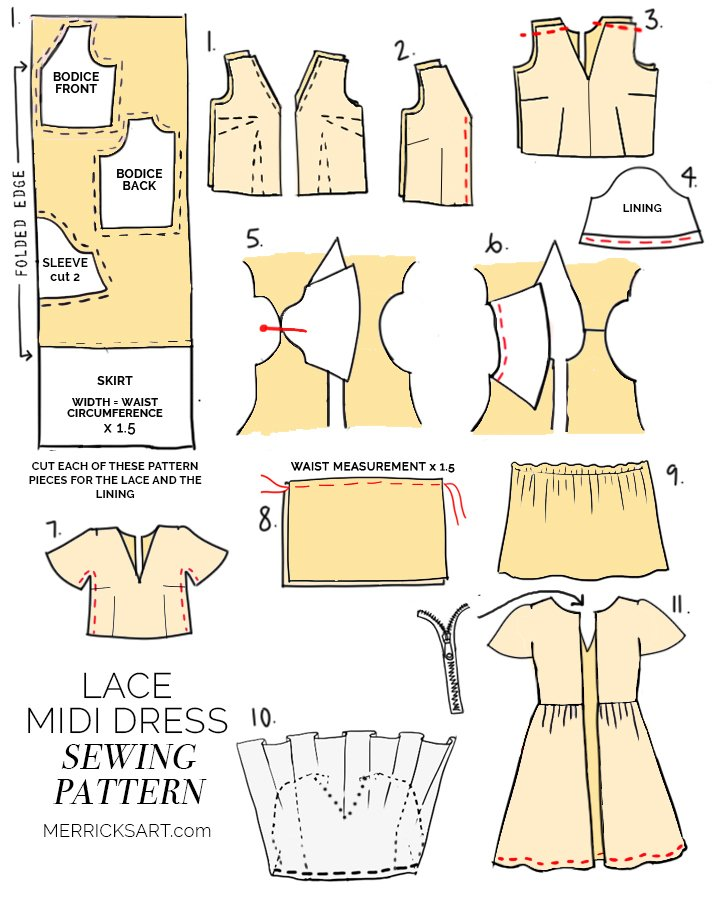 learn how to sew this gorgeous lace midi fit and flare dress with my sewing pattern and tutorial!