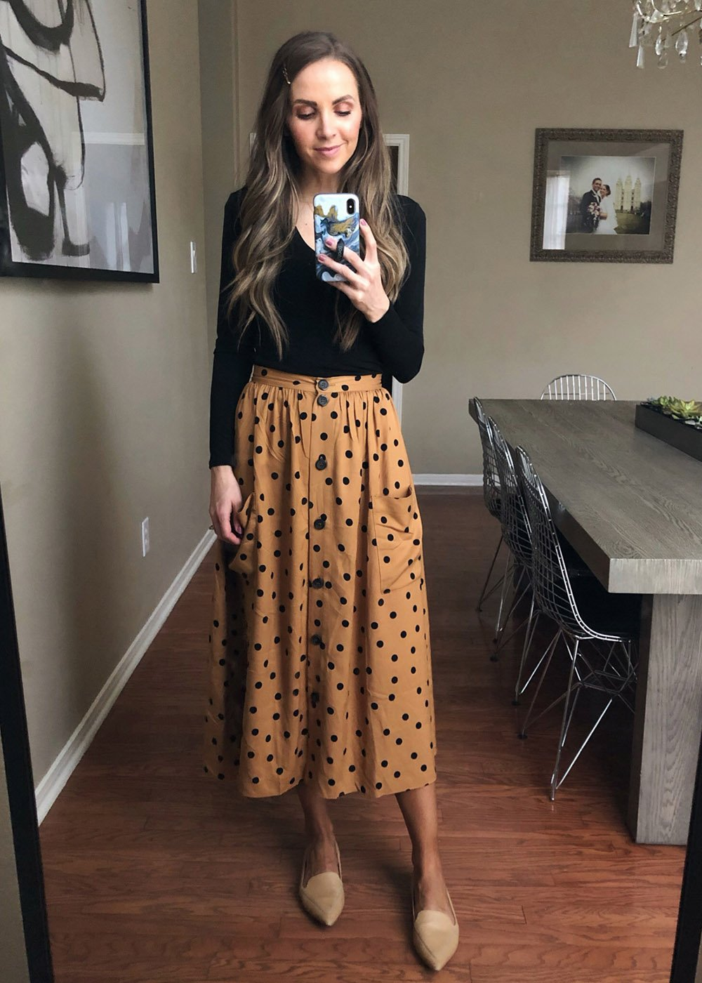black body suit and polka dot skirt | instagram outfits