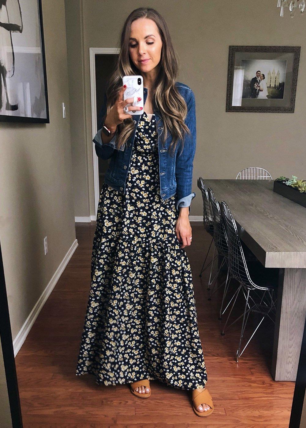 black floral dress and denim jacket | instagram outfits