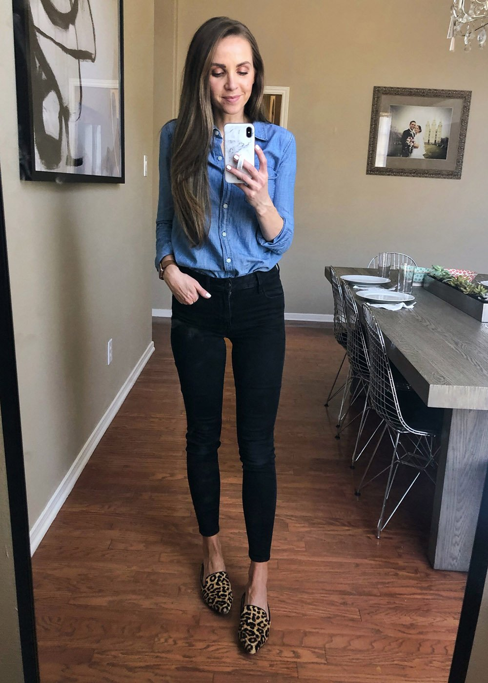 chambray top and black jeans | instagram outfits