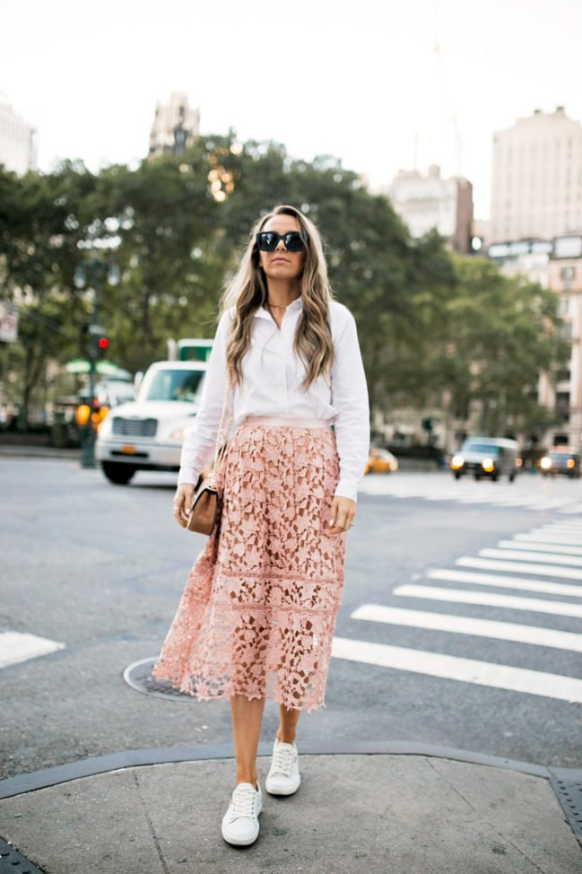 pink lace skirt white sneakers