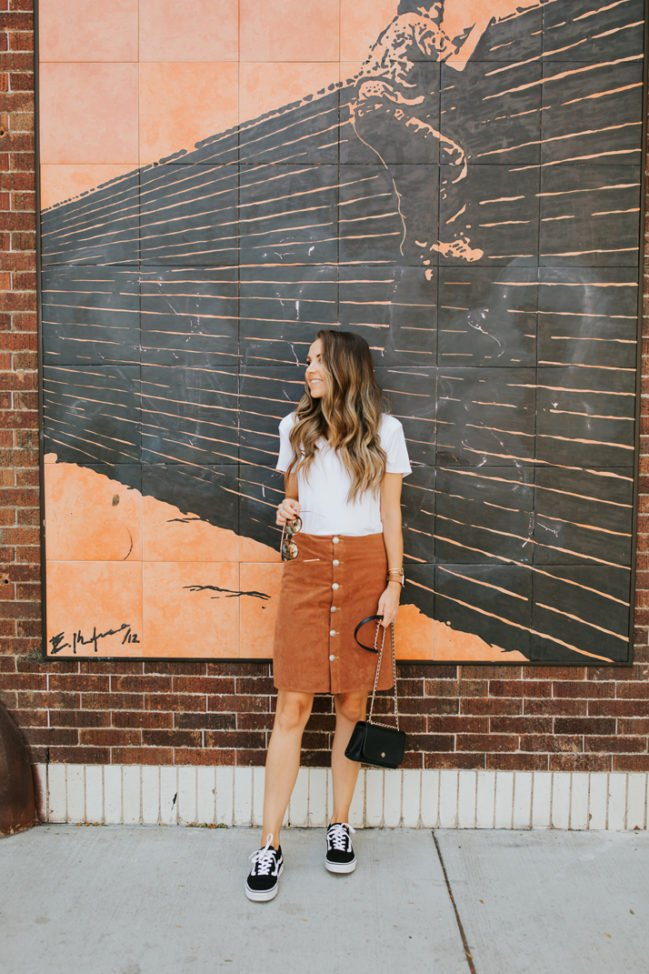 button front suede skirt with sneaker
