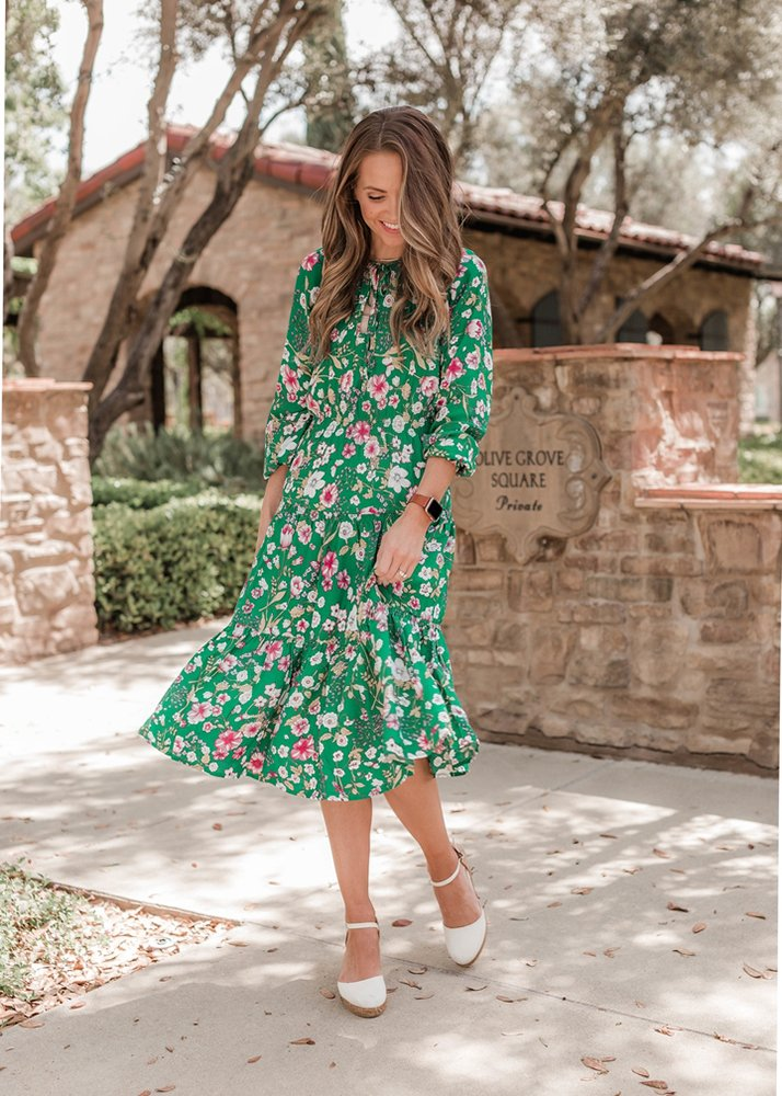 green floral dress with espadrille wedges
