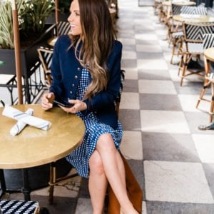 this gingham and blazer outfit is perfect for work