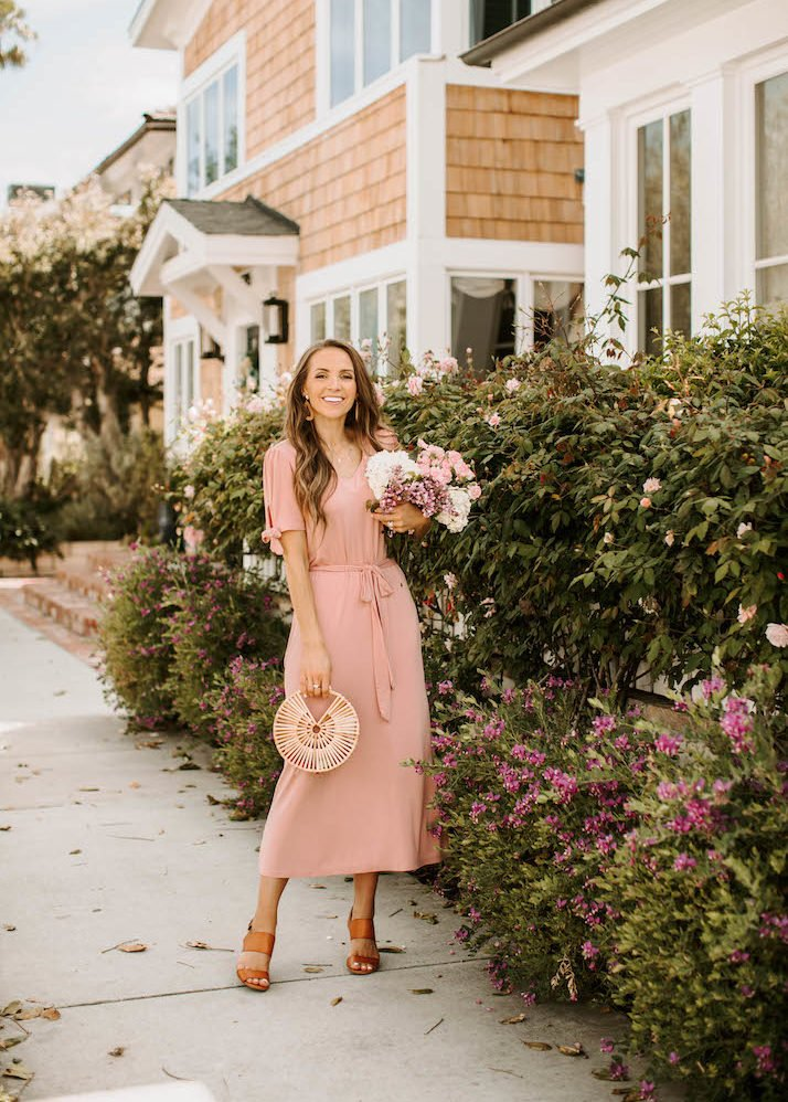 merrick white dusty pink dress