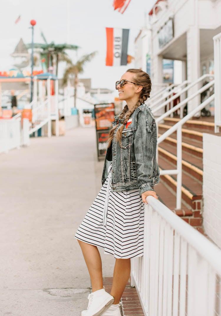 merrick white stripe navy dress