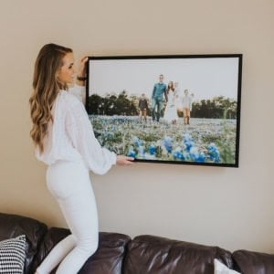 this gorgeous canvas print with a black floating frame will look amazing in our new house