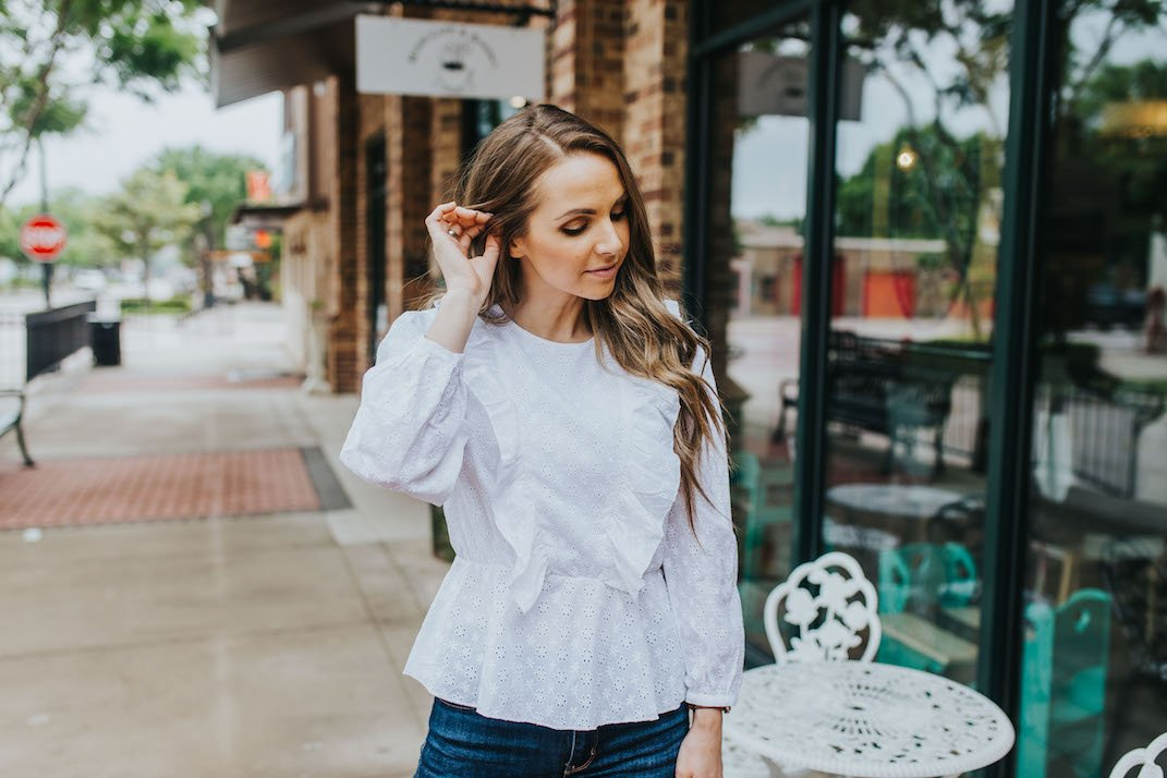 this cute eyelet top from walmart is perfect for a dressy daytime look