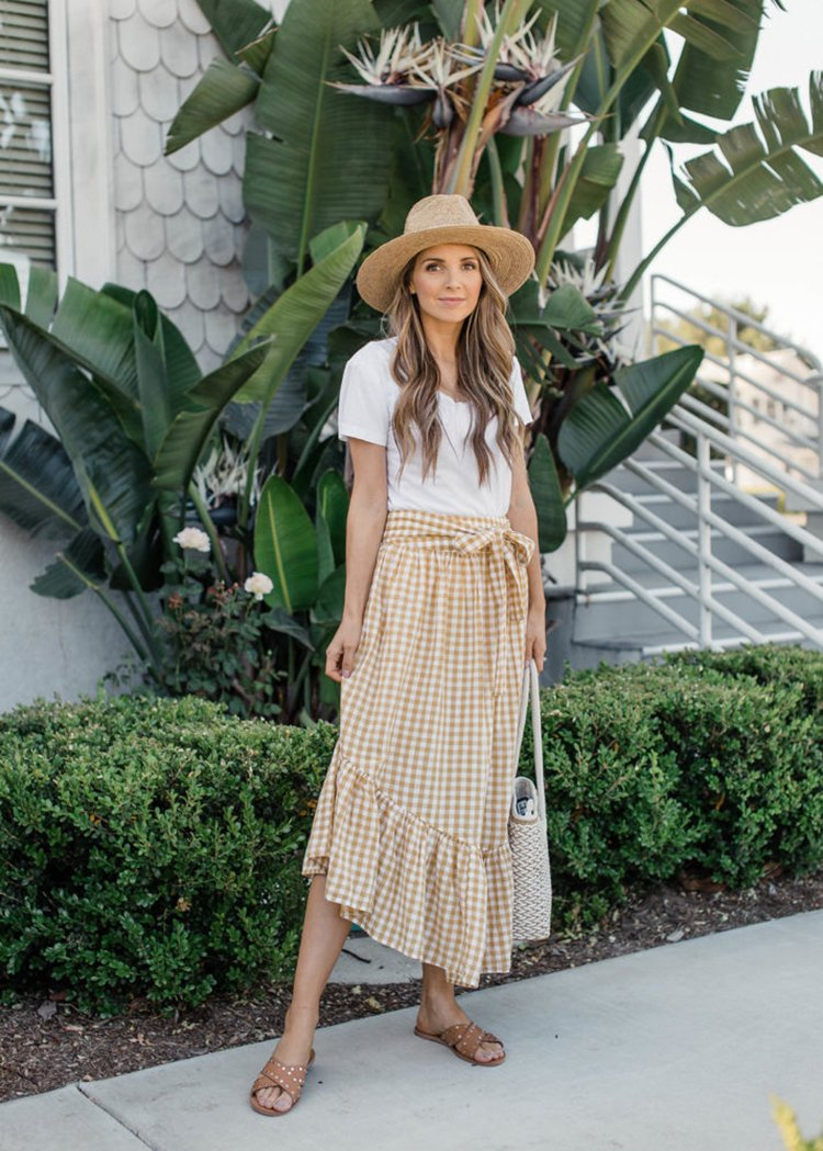 gingham skirt with white tee