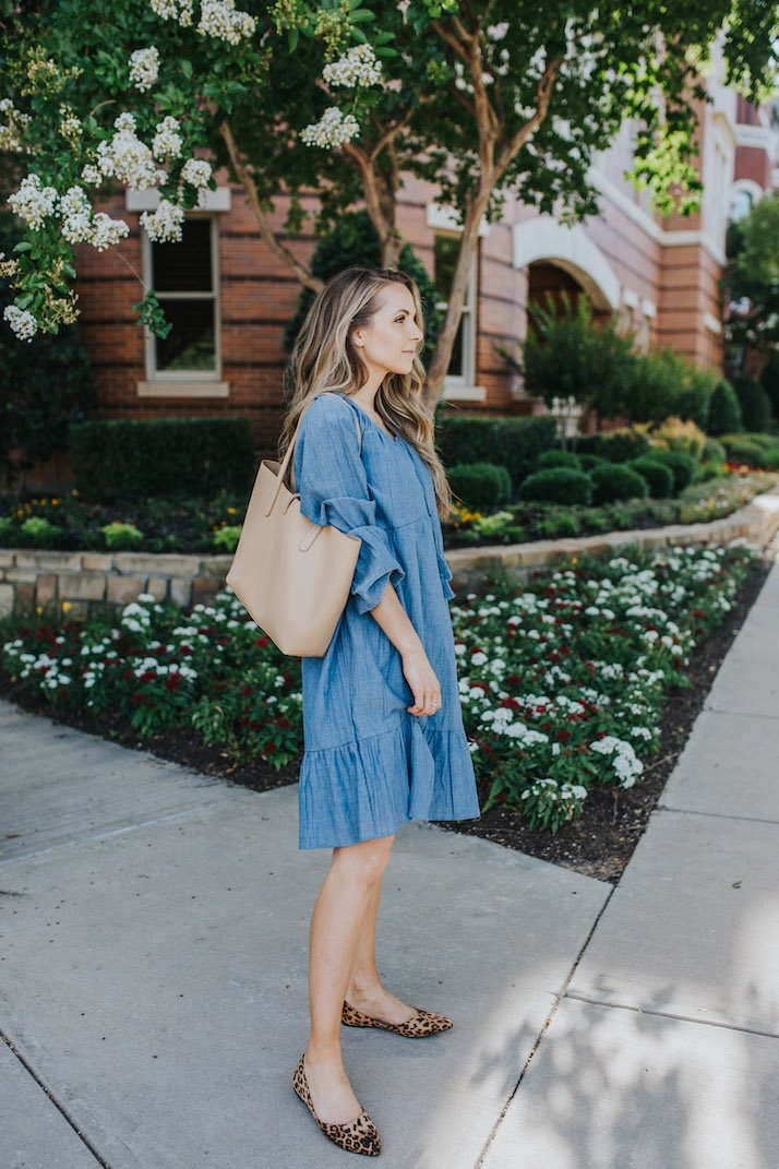 chambray dress and leopard flats
