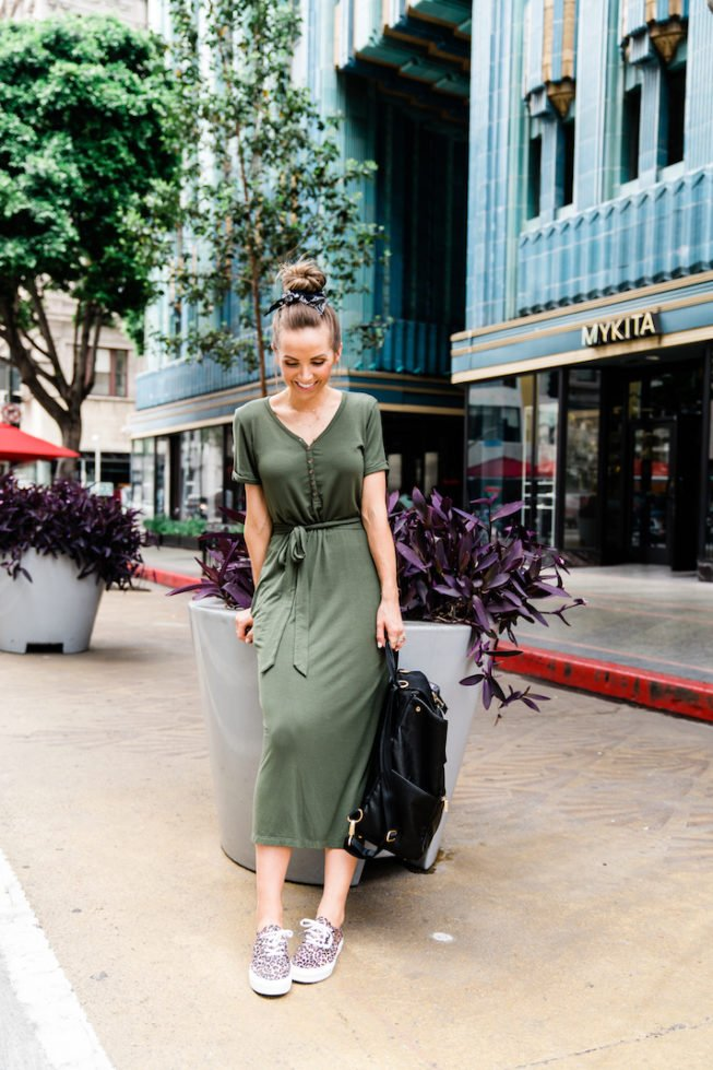 this midi dress is a perfect mom outfit