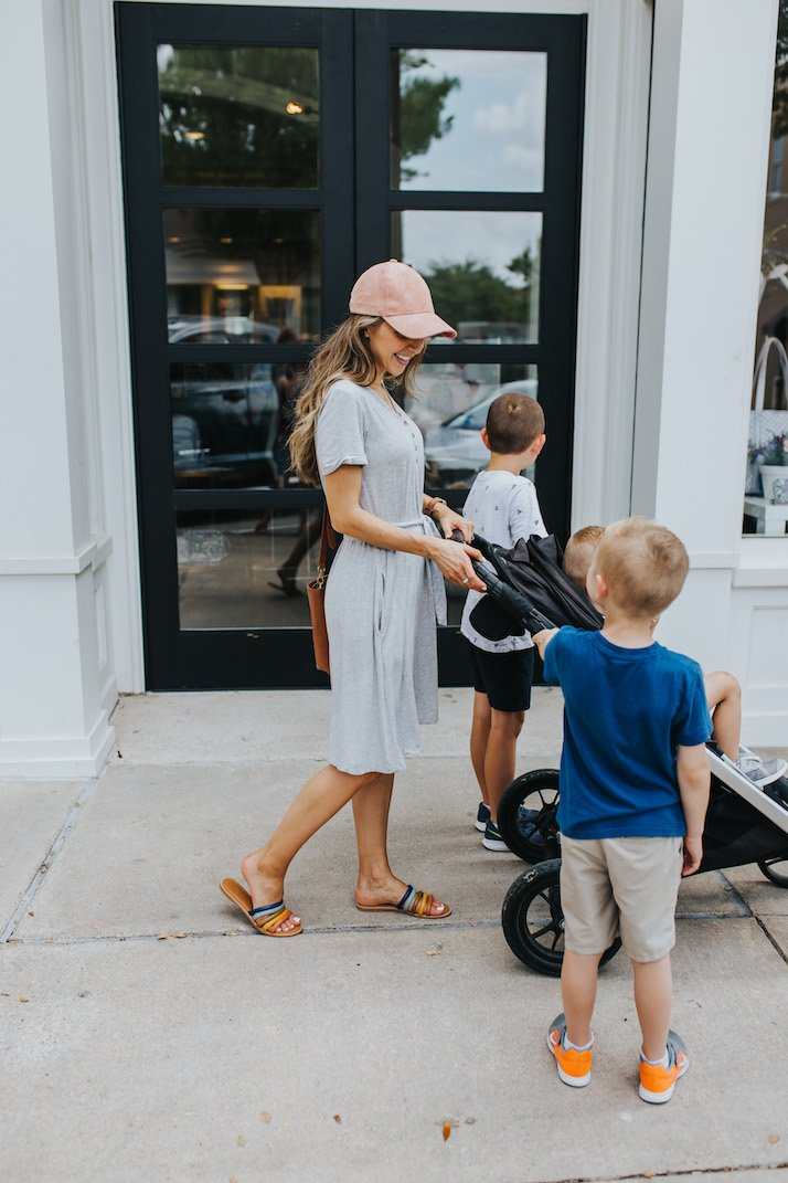 this gray henley dress is perfect for mom style
