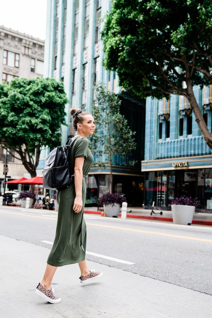 midi green dress mom style