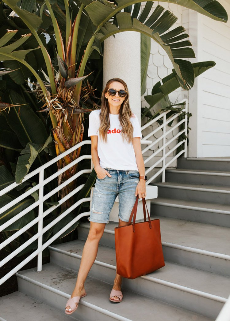 bermuda shorts with graphic tee