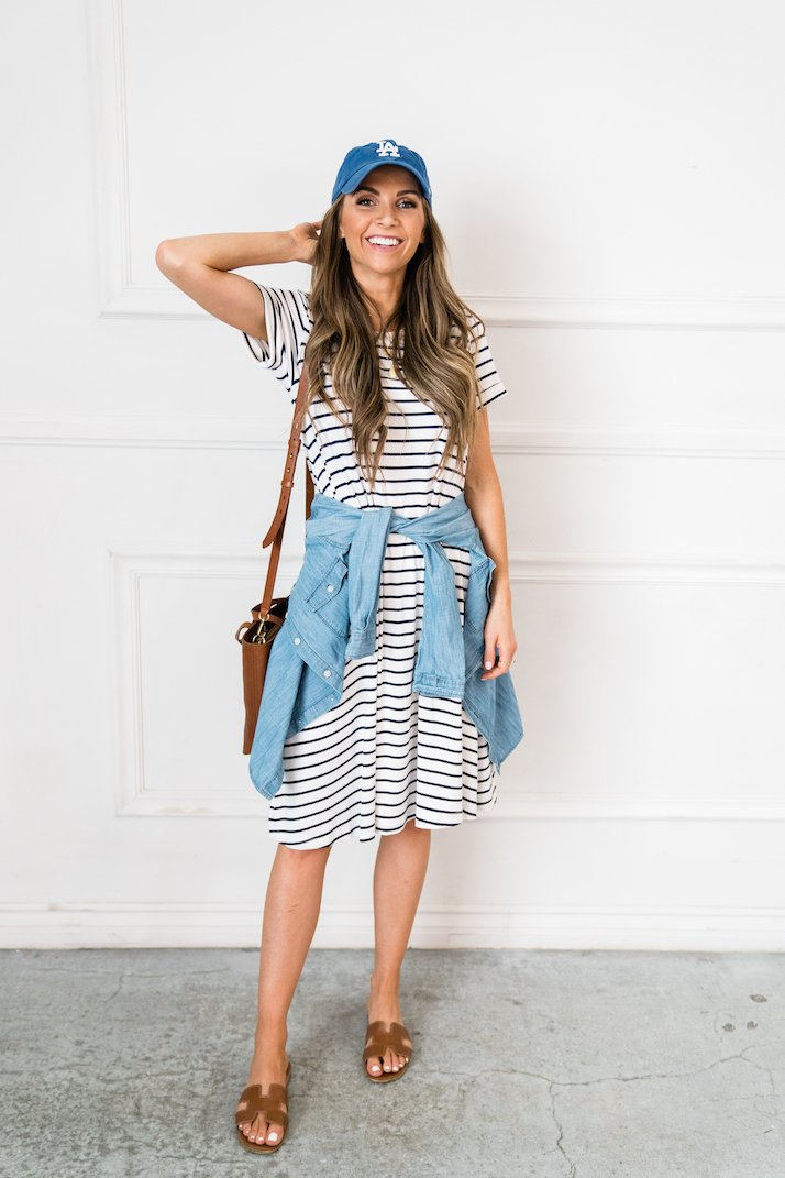 an easy striped dress for a summer mom outfit