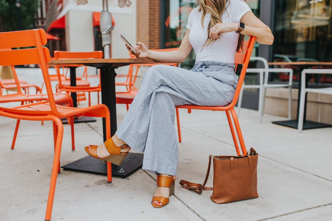 an easy summer outfit with wide leg pants and a bodysuit