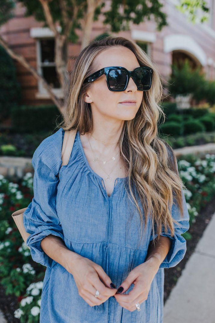 easy chambray dress under $20 from walmart
