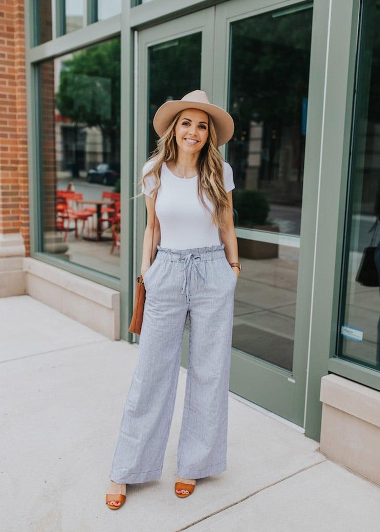 bodysuit and wide leg pants