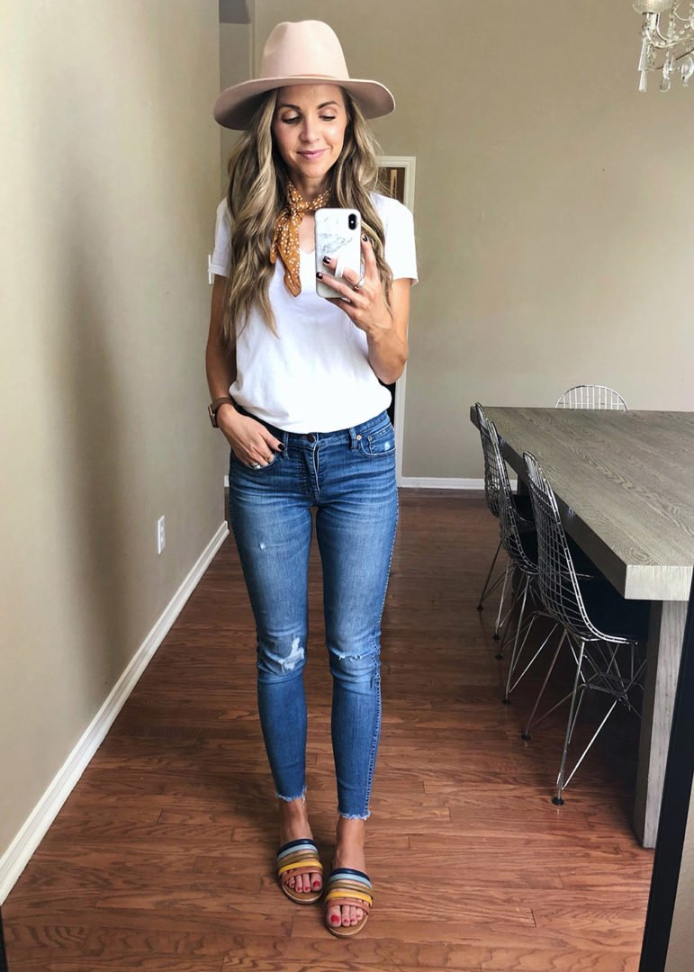 blue jeans and white tee