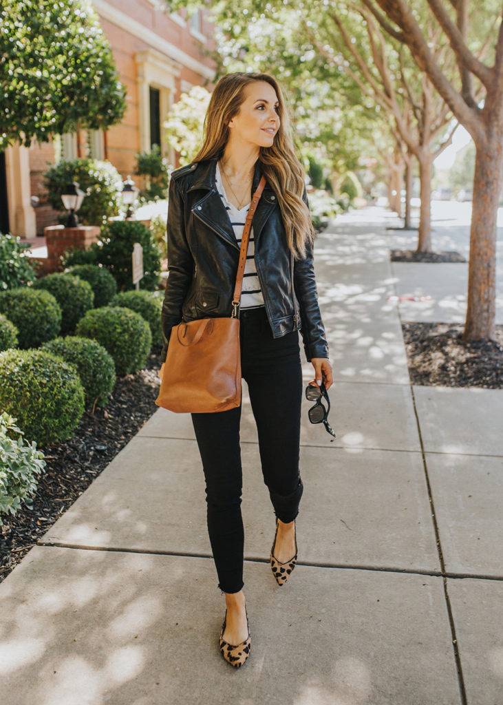 black leather jacket and black jeans