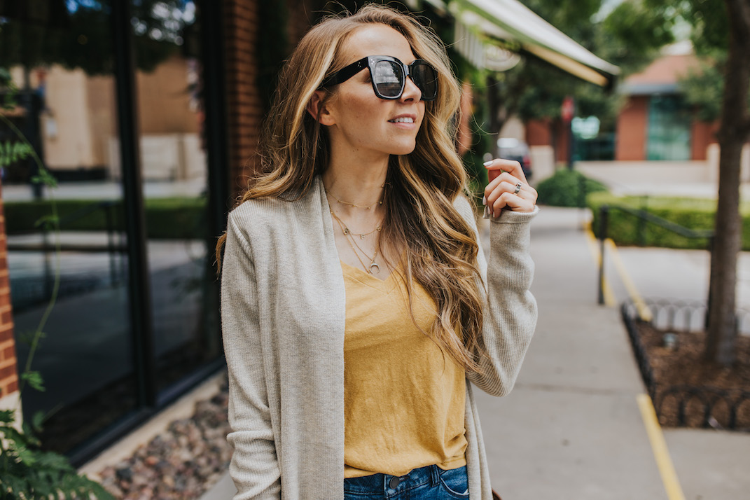 this mustard tee is under $15, and this cardigan is super cozy