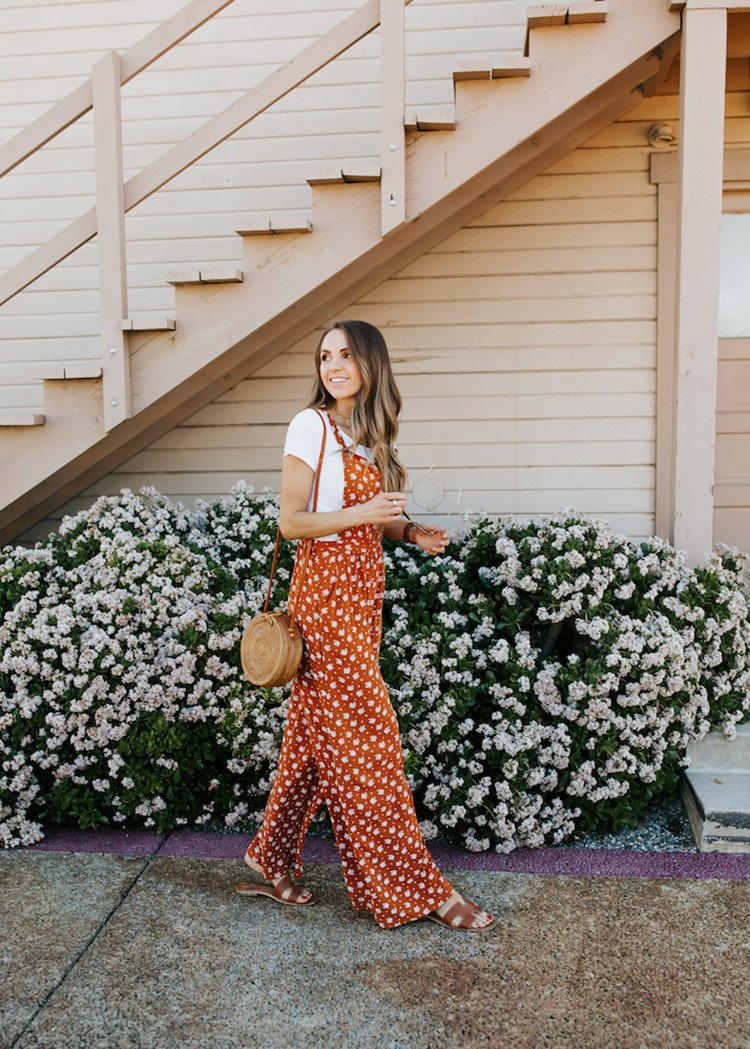 floral jumpsuit and white tee