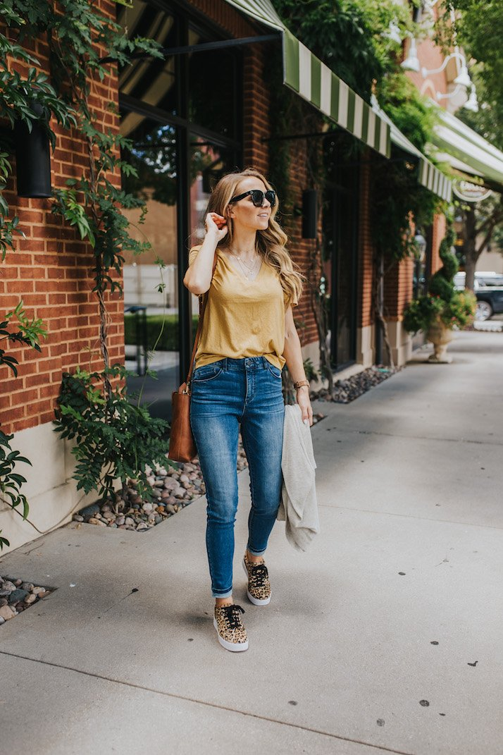 leopard sneakers and mustard tee