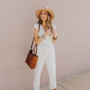 white jumpsuit and summer jewelry