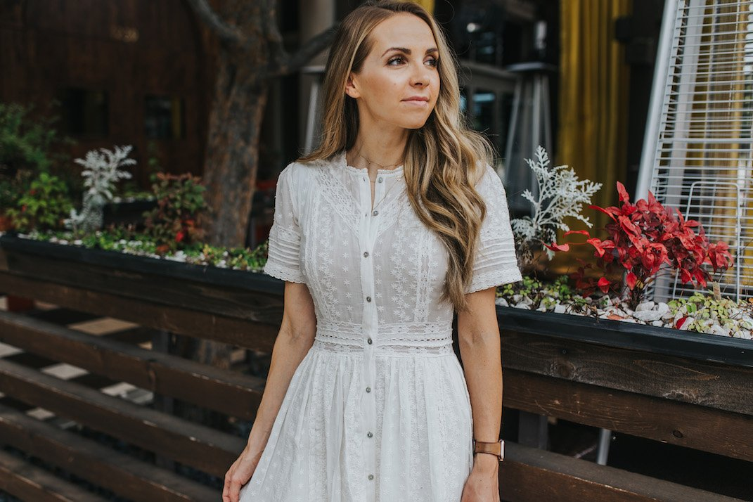white summer dress from urban outfitters