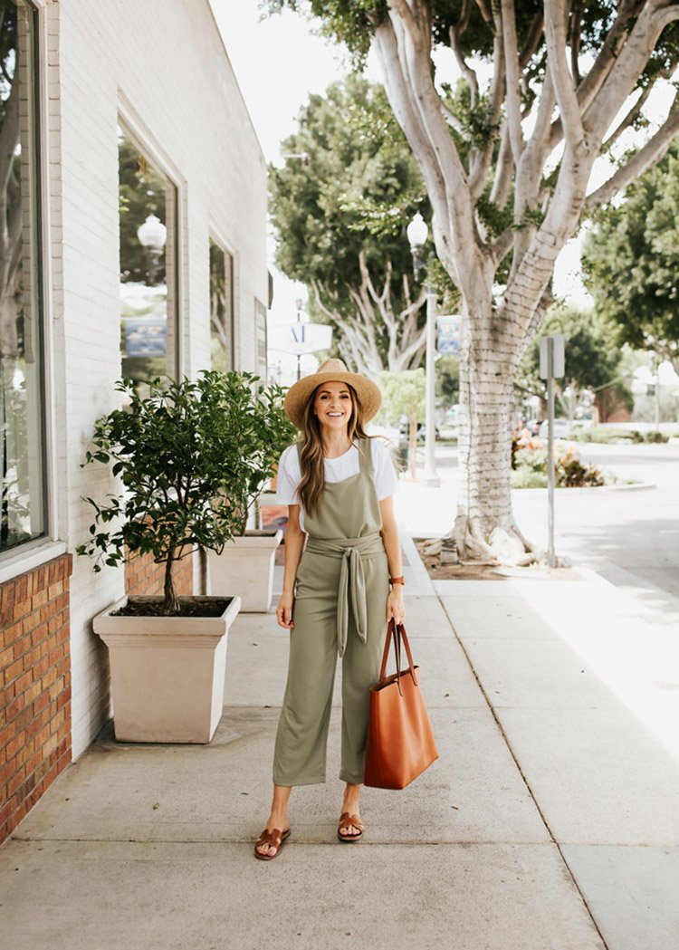 olive jumpsuit and white tee