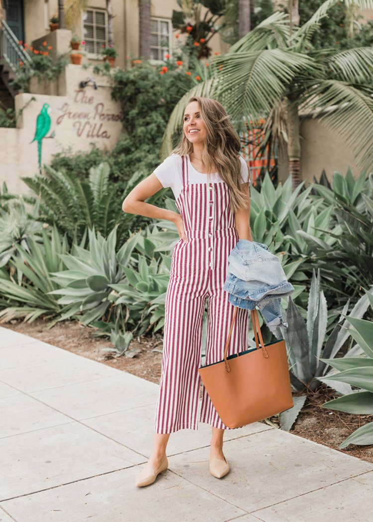 red striped jumpsuit outfit