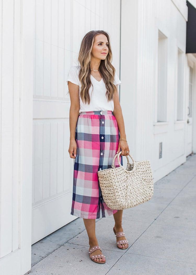 plaid midi skirt and white tshirt outfit