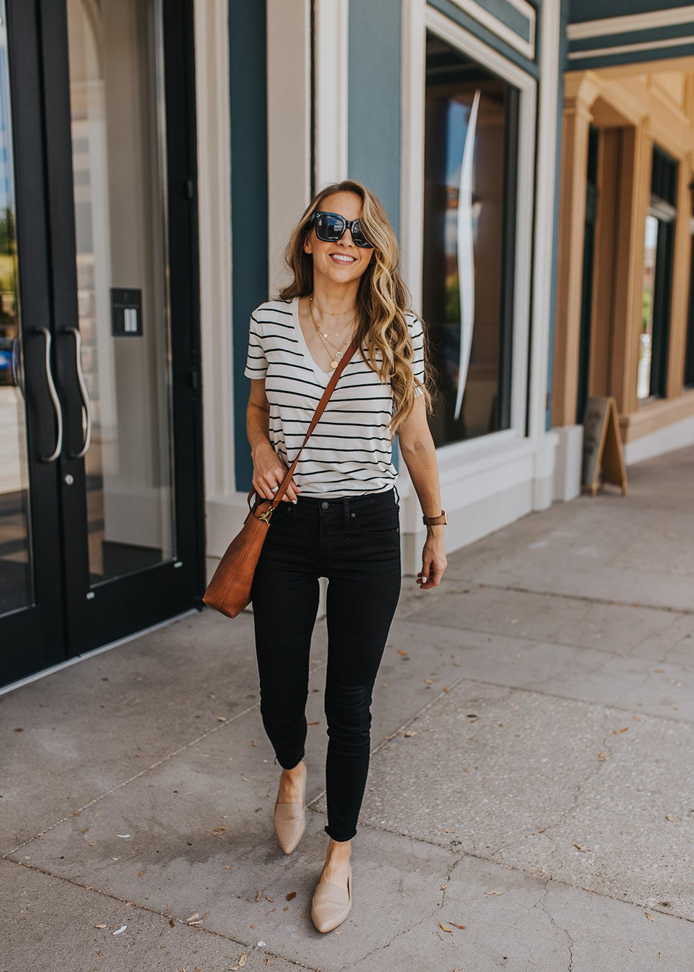 black jeans and striped shirt with leopard flats