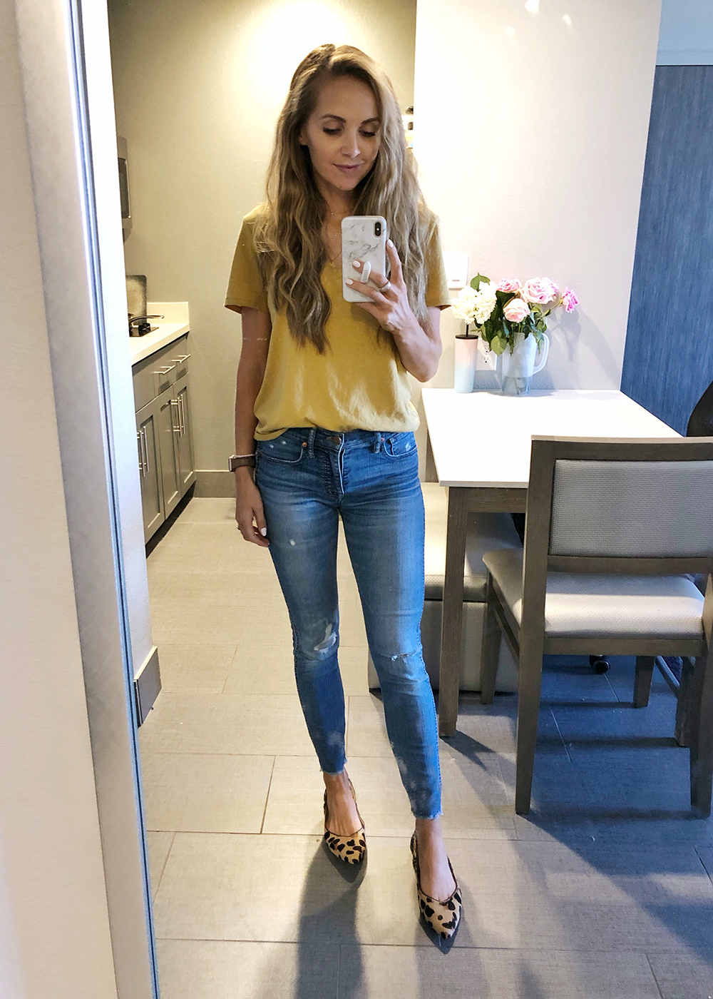 yellow tshirt and jeans
