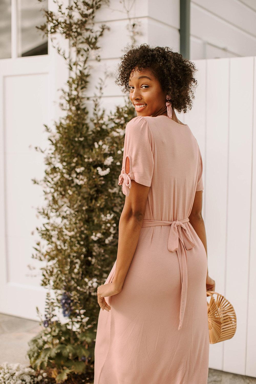 mw anywhere dusty pink dress waist tie