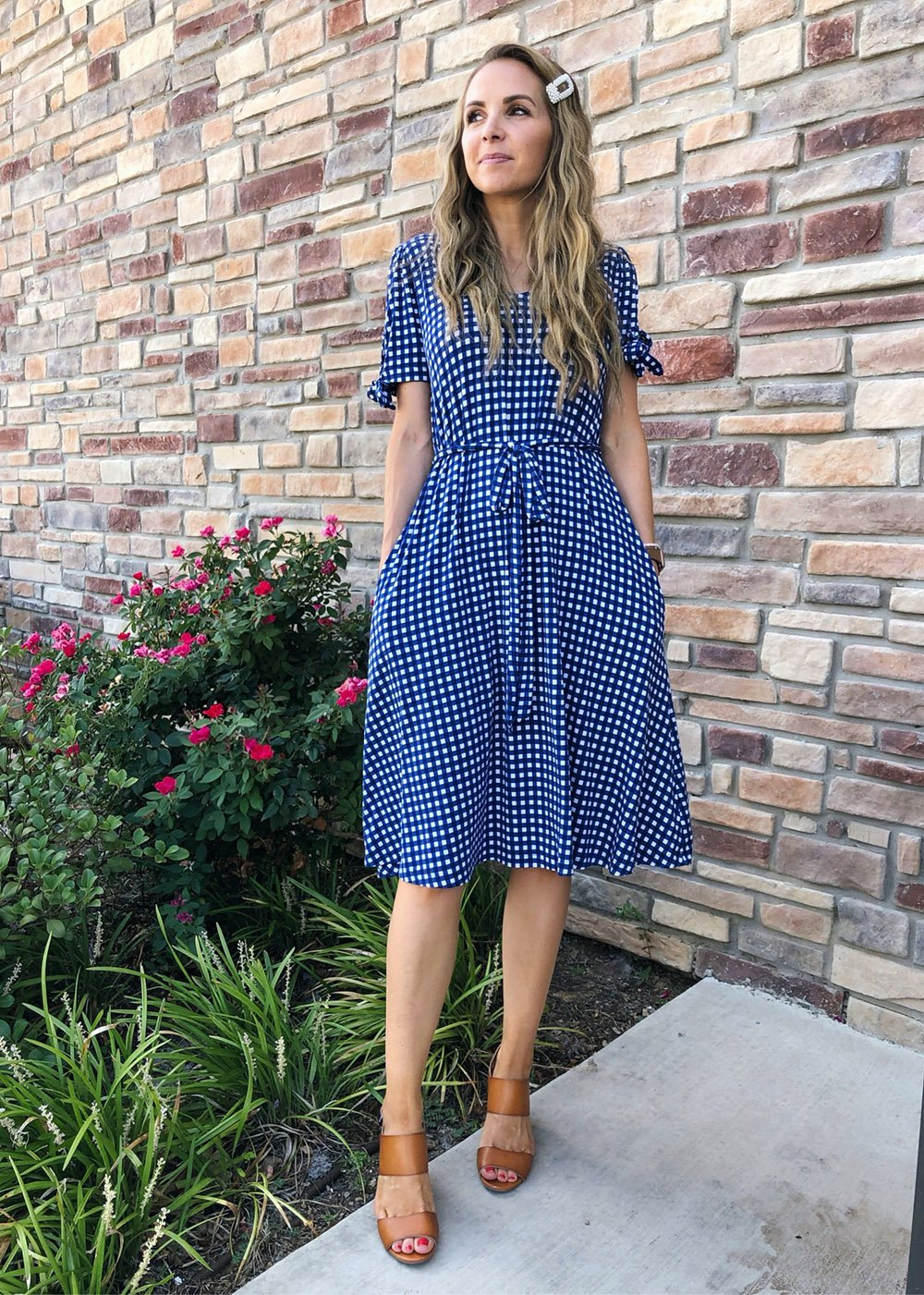 ginham dress and heeled sandals - instagram outfit
