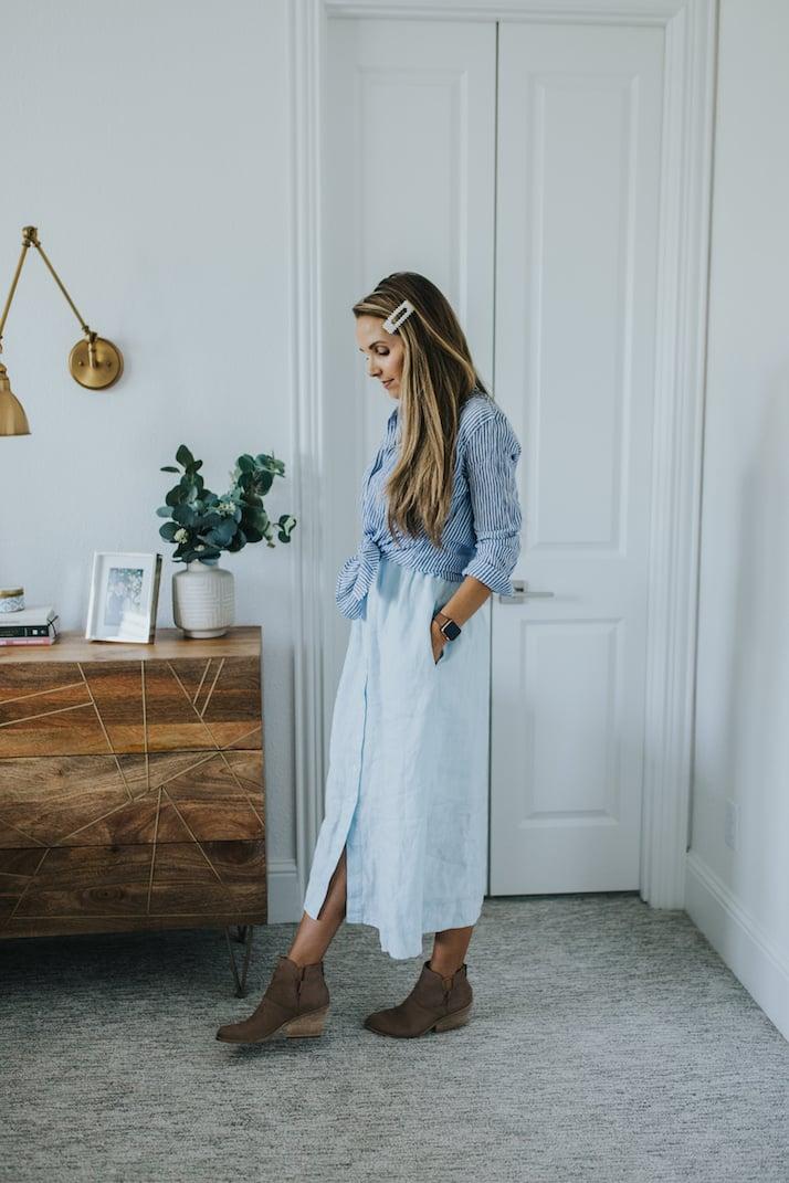 merricksart summer linen dress styled for fall
