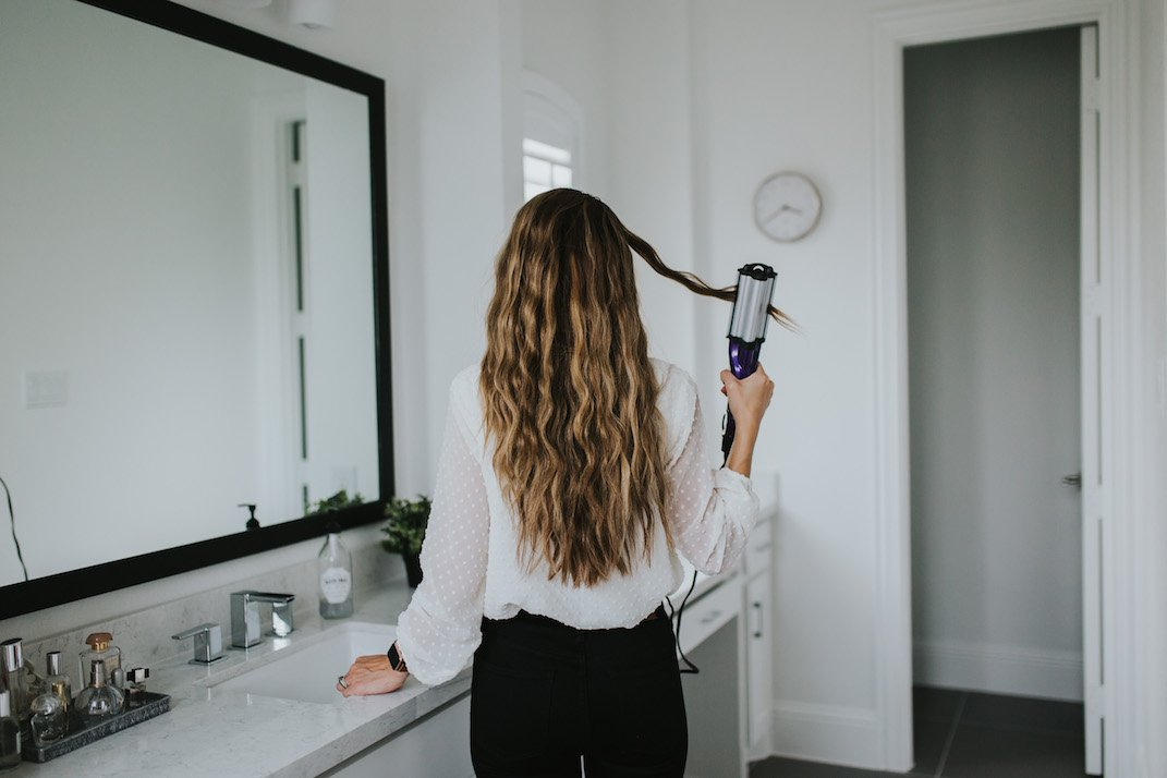 beachy waves with the bed head waver tool